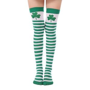 🍀 St. Patrick's Day Green & White Thigh Highs
